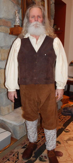 Victoria, Heidis Grandfather.  Made shirt, pants. vest and leggings.