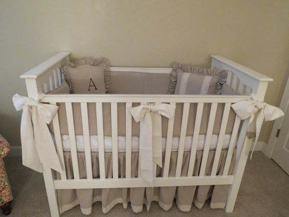 Cynthia, Neutral crib set, (will it be a boy, or a girl?) including crib skirt, bumpers and decorative pillow...
