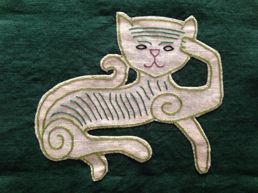 Elise, Cat panel inspired by the Oseberg cart carvings from Viking age Norway.  Embroidery done with silk f...