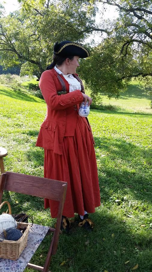 K, Linen reproduction of a 1760s era riding habit.  Matching petticoat, waistcoat, and jacket.  All co...