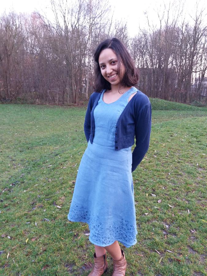 Pavani, A handdyed blue linnen dress with dark blue stensil pattern