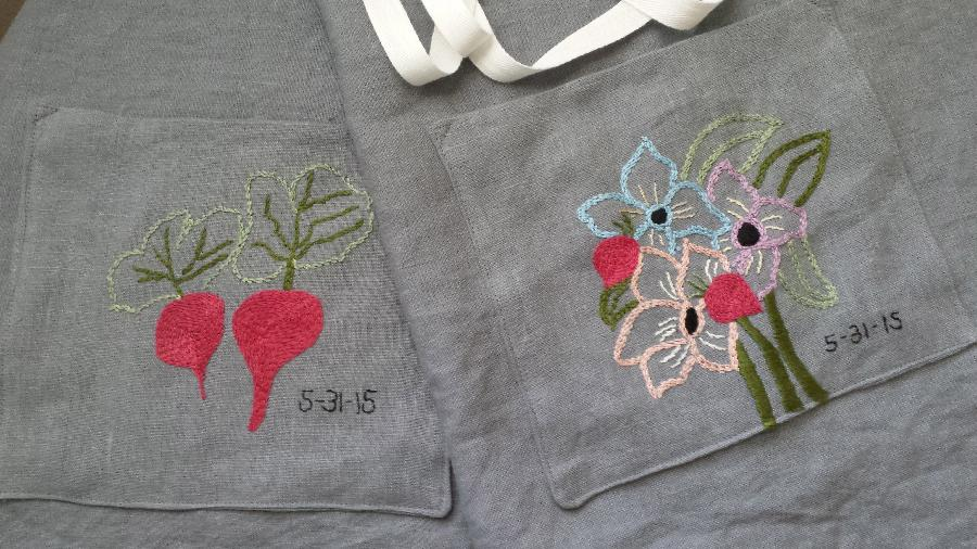 Louise, Matching set of aprons made for a wedding gift. The groom is a chef and the bride, an organic garden...