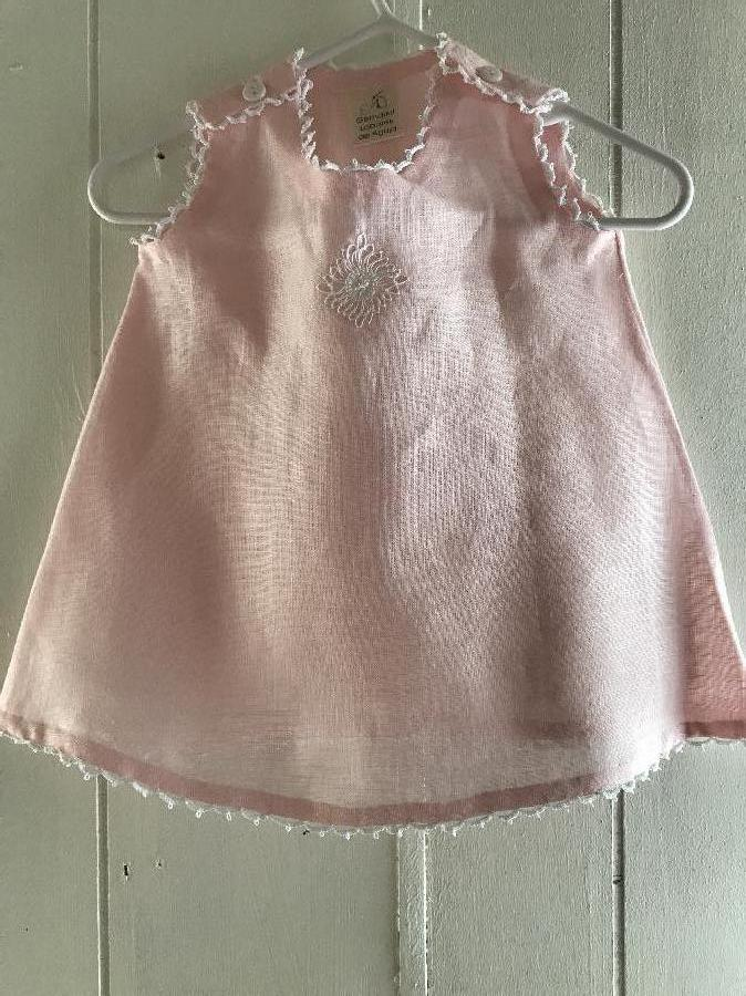 marta, Light Pink Baby Dress No Sleeves With White Tatting On Neck,Sleeve and Hem. Lace Teneriffe On The Fr...