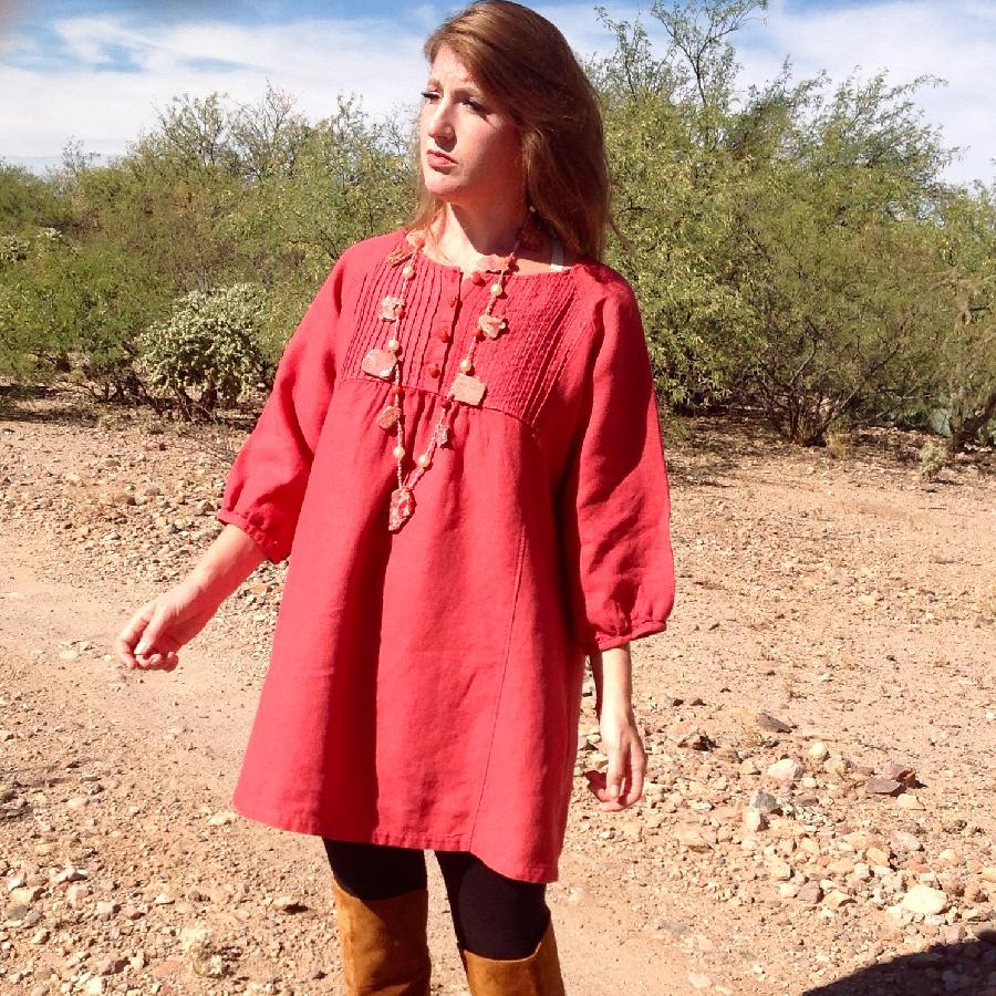 Kelly, Hand-Dyed Aurora Red, 100% European Mid-Weight Linen, modeled by Kelsey OShea in the Sonoran Desert...