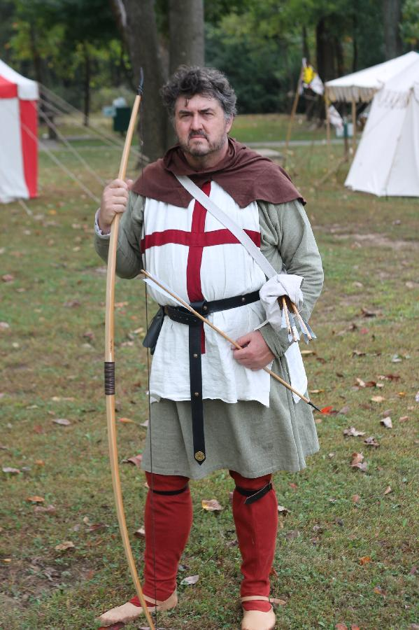 Mark, The outfit I made for my 14th Century English Archer.  9 oz green linen tunic, 7 oz white surcoat wi...
