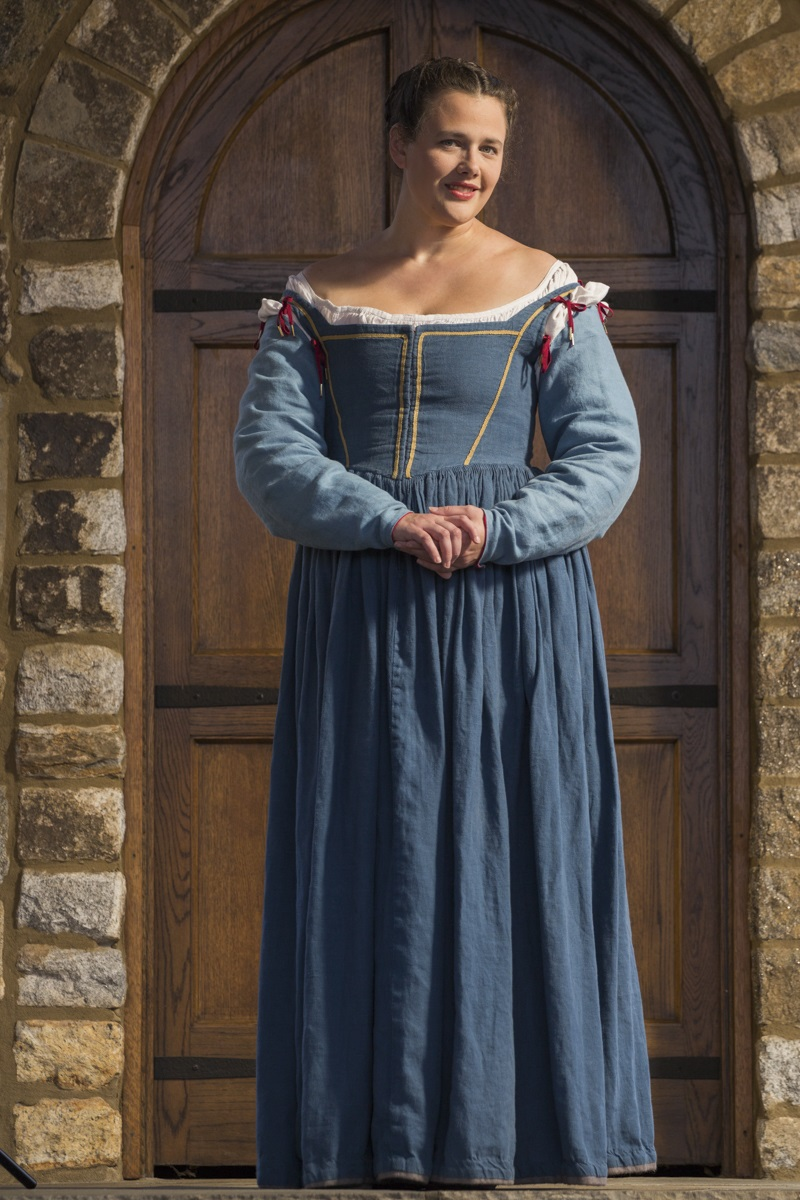 Meghan, Italian dress inspired by the art of the 1570s .  Dress is made from IL019 Blue Bonnet while the sl...
