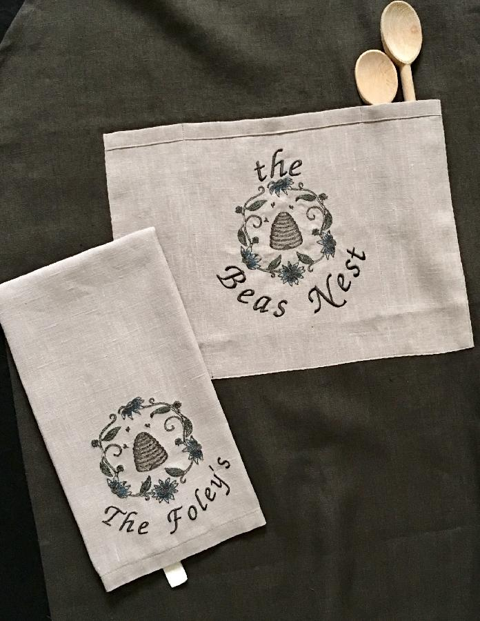 Ann, For the brides gift I machine embroidered on the pocket and towel.  The apron is Teak medium weight...