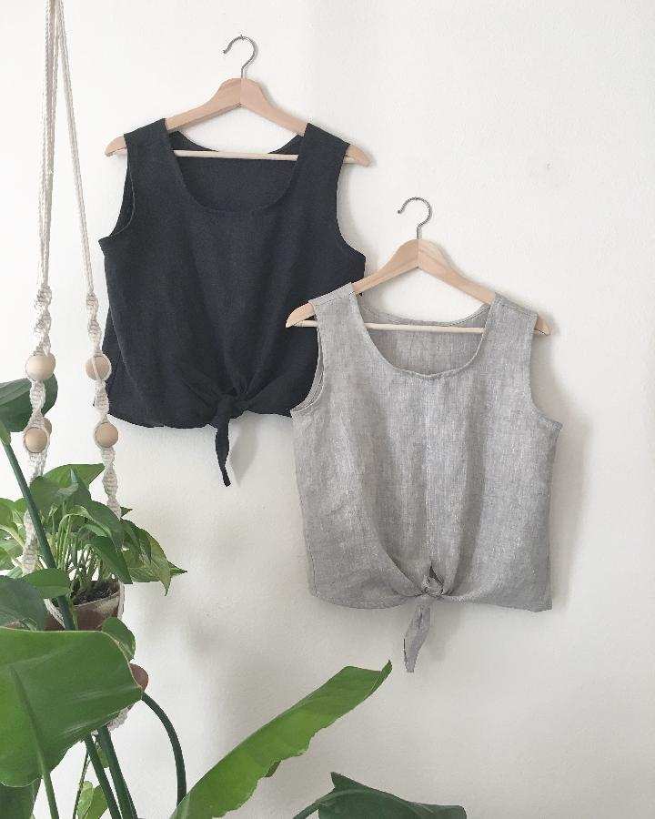 Sam, Womens tie front tops, in IL019 Black Signature Finish, and IL019 Mix Natural