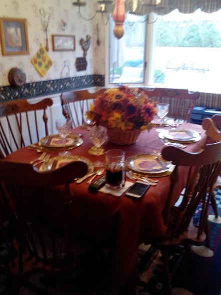 Kathryn, Very simple tablecloth but I thought it was glorious with the fall colors of the centerpiece. Thanks...