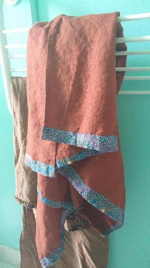Anne, Linen bath towel with Australian tribal cotton accent and loop. The linen is so soft and absorbent,...