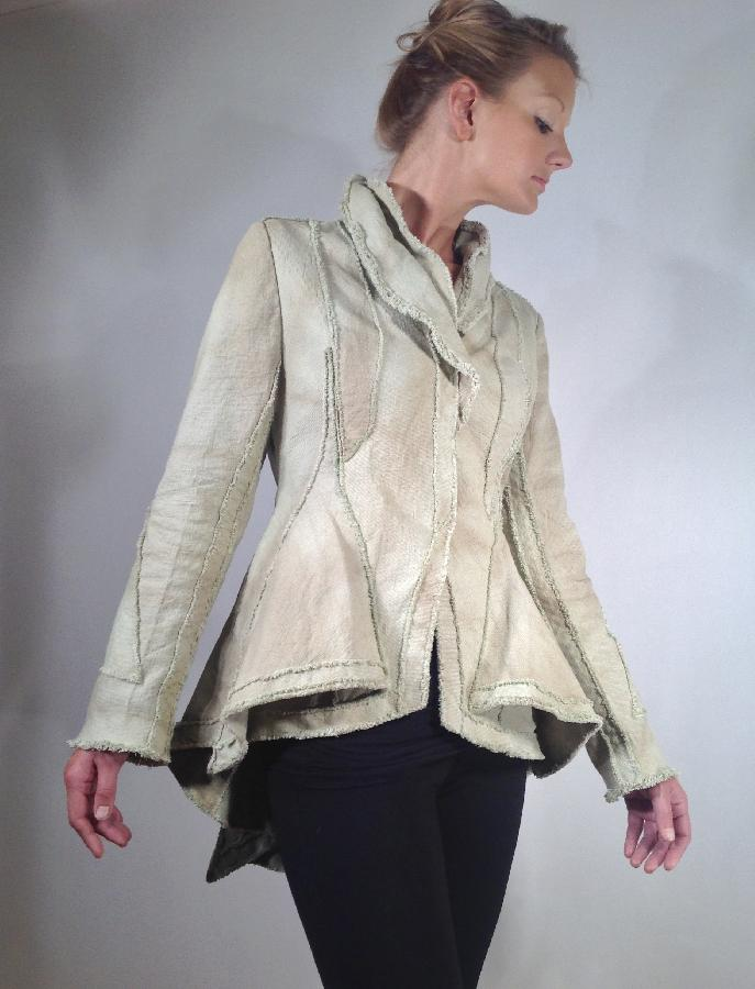 Peter, Linen canvas jacket. Dyed and over-dyed with black walnut. Cut interlay on bias. The surface design...