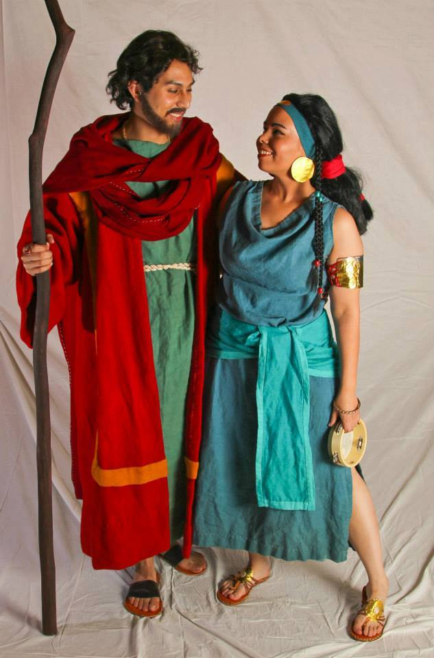 Bethany, Moses and Tzipporah from The Prince of Egypt. All naturally dyed linen tunics. Moses wool robe and...