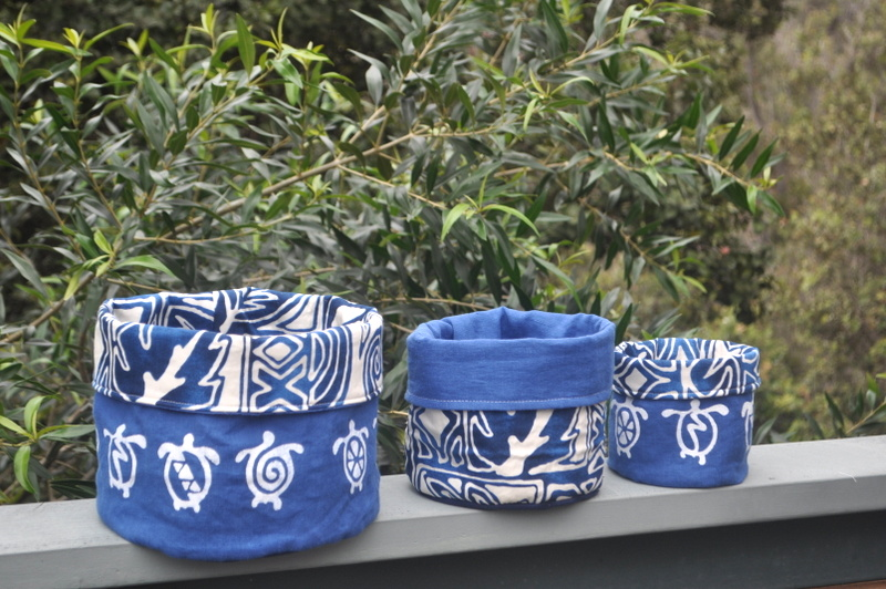 Jane, Nesting reversible fabric containers.  Silk-screened mid weight linen lined with 100% cotton Hawaiia...