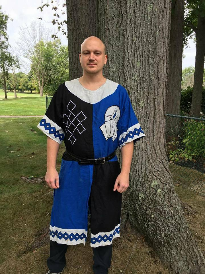 Haley, Knights quartered surcoat with white trim, decorative knotwork, personal symbol and unit symbol, al...