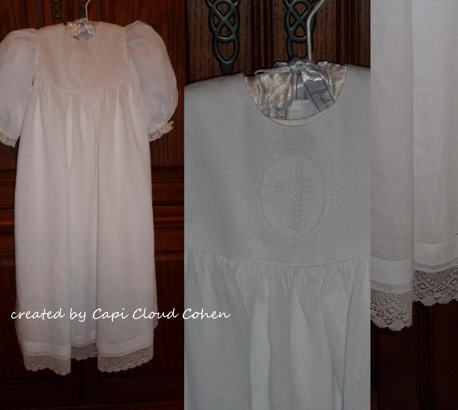 Capi, This white handkerchief linen christening gown features a drawn thread whitework cross on the bodice...