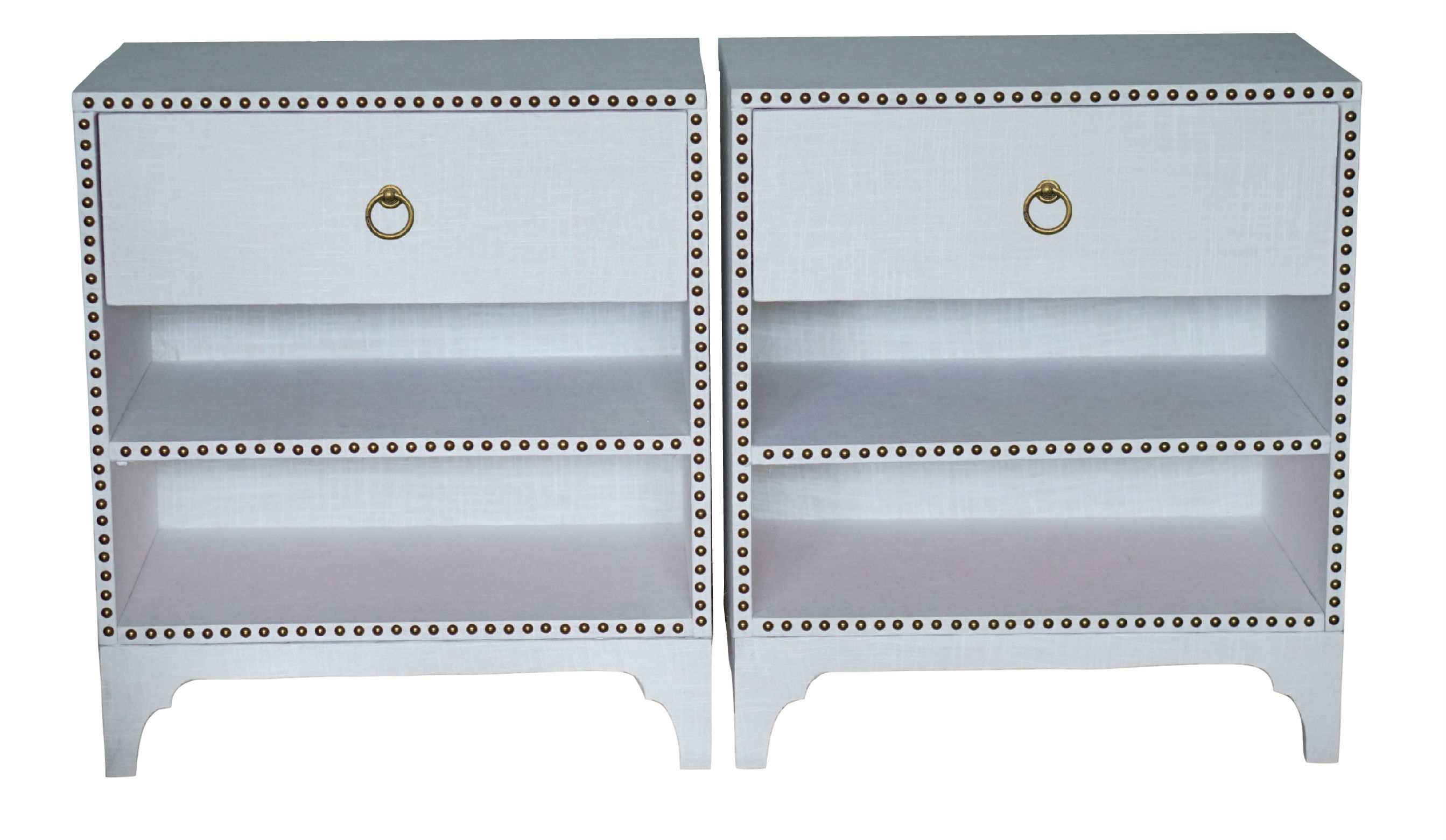 Alexis, Pair of custom made nightstands wrapped with white linen and accented with nail heads.