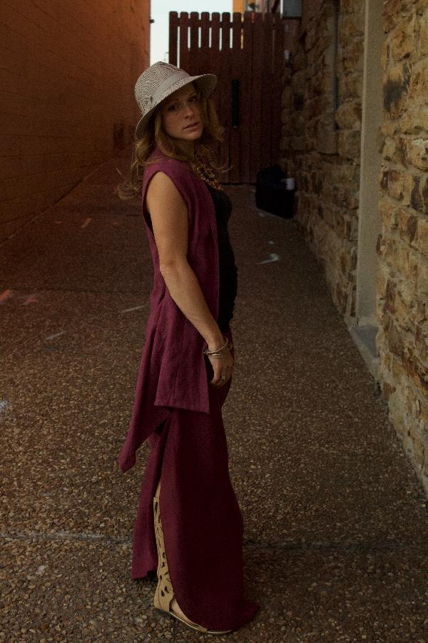 Lou, Our signature wide leg pants with hidden side split, back pockets and yoga waist band in tawny port...