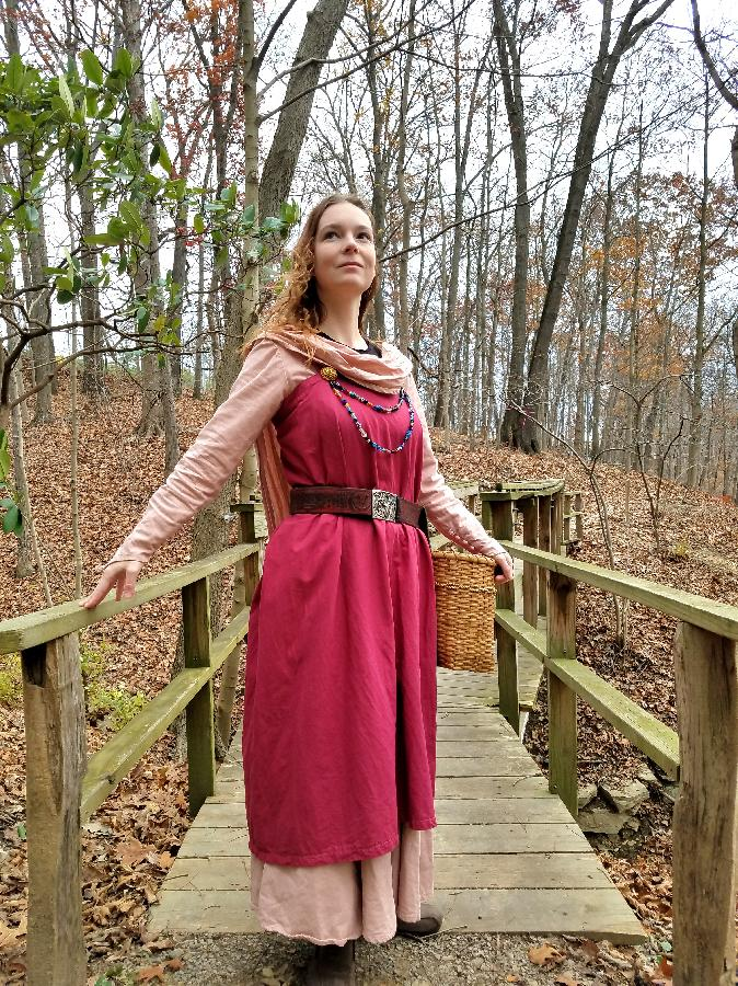 Johni-ann, I made this durable viking inspired dress and apron from heavy weight linen. The apron was dyed by h...