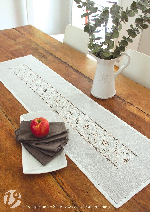 Yvette, This runner is worked in traditional-style Hardanger embroidery, using linen thread on linen fabric....