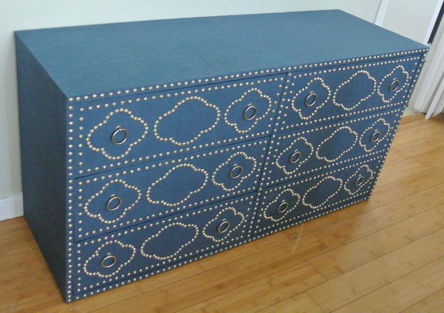 Alexis, Custom made six drawer dresser wrapped with Blue Bonnet Linen and features a nailhead design.
