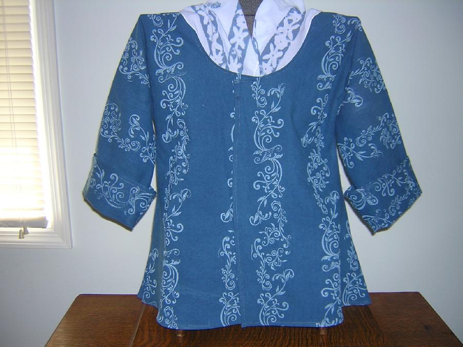 Laura, A pretty shade of blue linen was hand printed in a white pattern and sewn into an 18th century short...