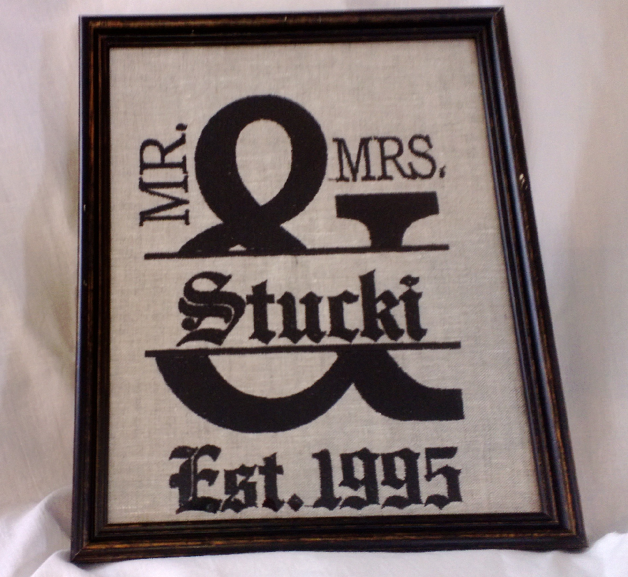 Dianne, Machine embroidered wedding sign on linen.
