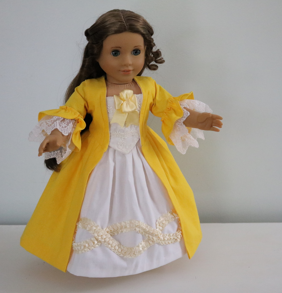Jessica, Colonial dress for an American girl doll. Everything is made out of linen with the exceptions of the...