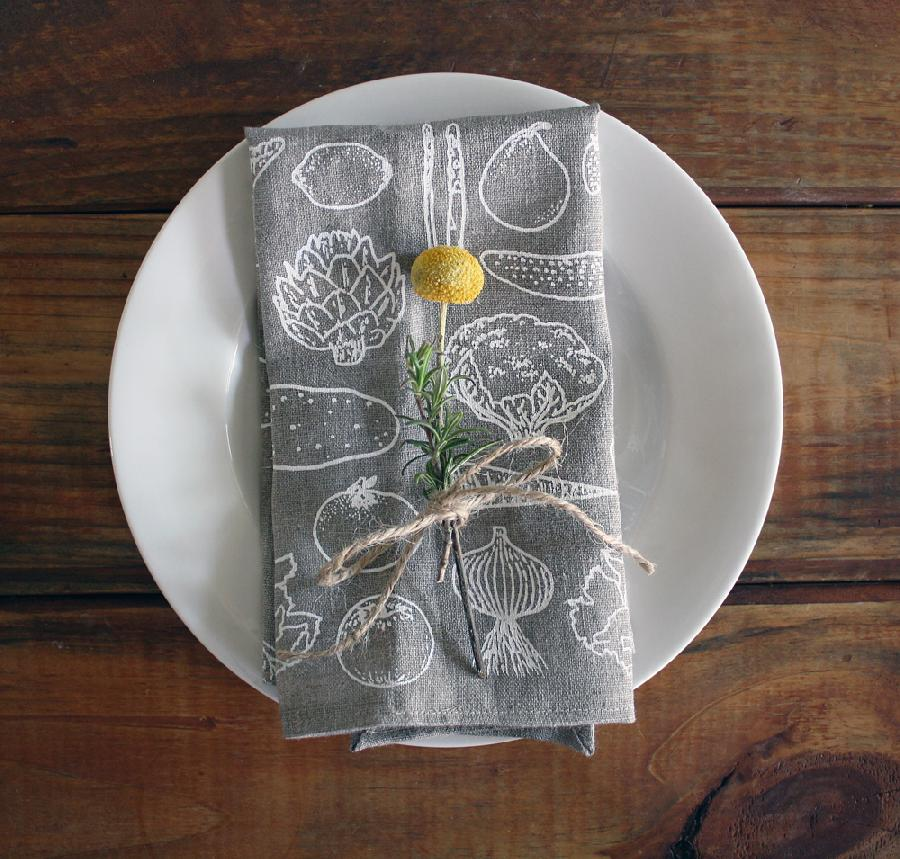 Morgana, Veggie pattern napkins screen printed by hand on oatmeal linen. Available soon on Satchel & Sage...