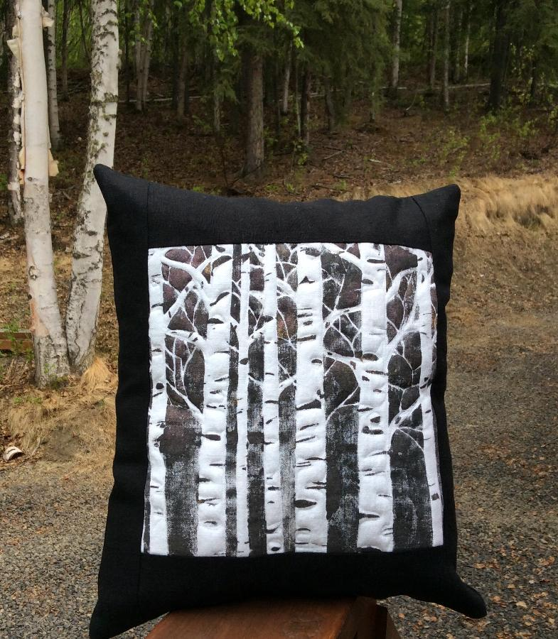 Barbara, Linen pillow. I printed the front panel highlighted with copper interference and gold fabric paint....