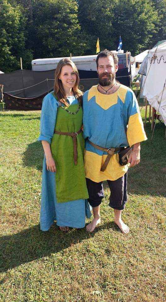 Caity, SCA viking apron dress under dress, and tunic