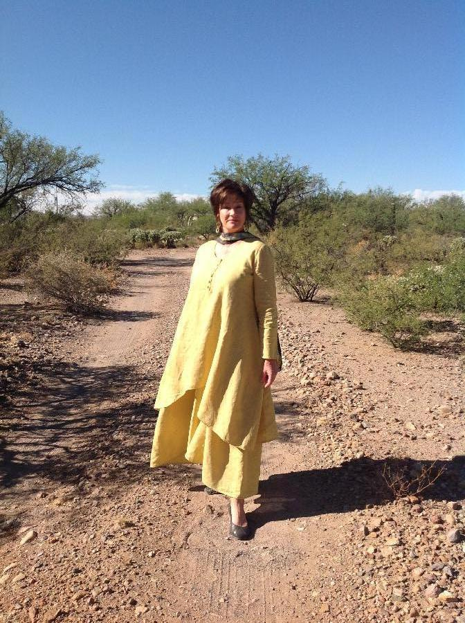 Kelly, Hand-Dyed Spicy Mustard, 100% European Handkerchief Linen...Long Layered Dress Set, modeled by Kelly...