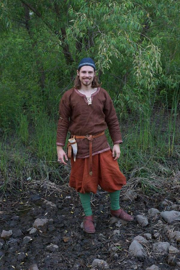 Kelsey, This is a complete set of Birka-style Viking Clothing I made for my husband.  His undertunic is made...