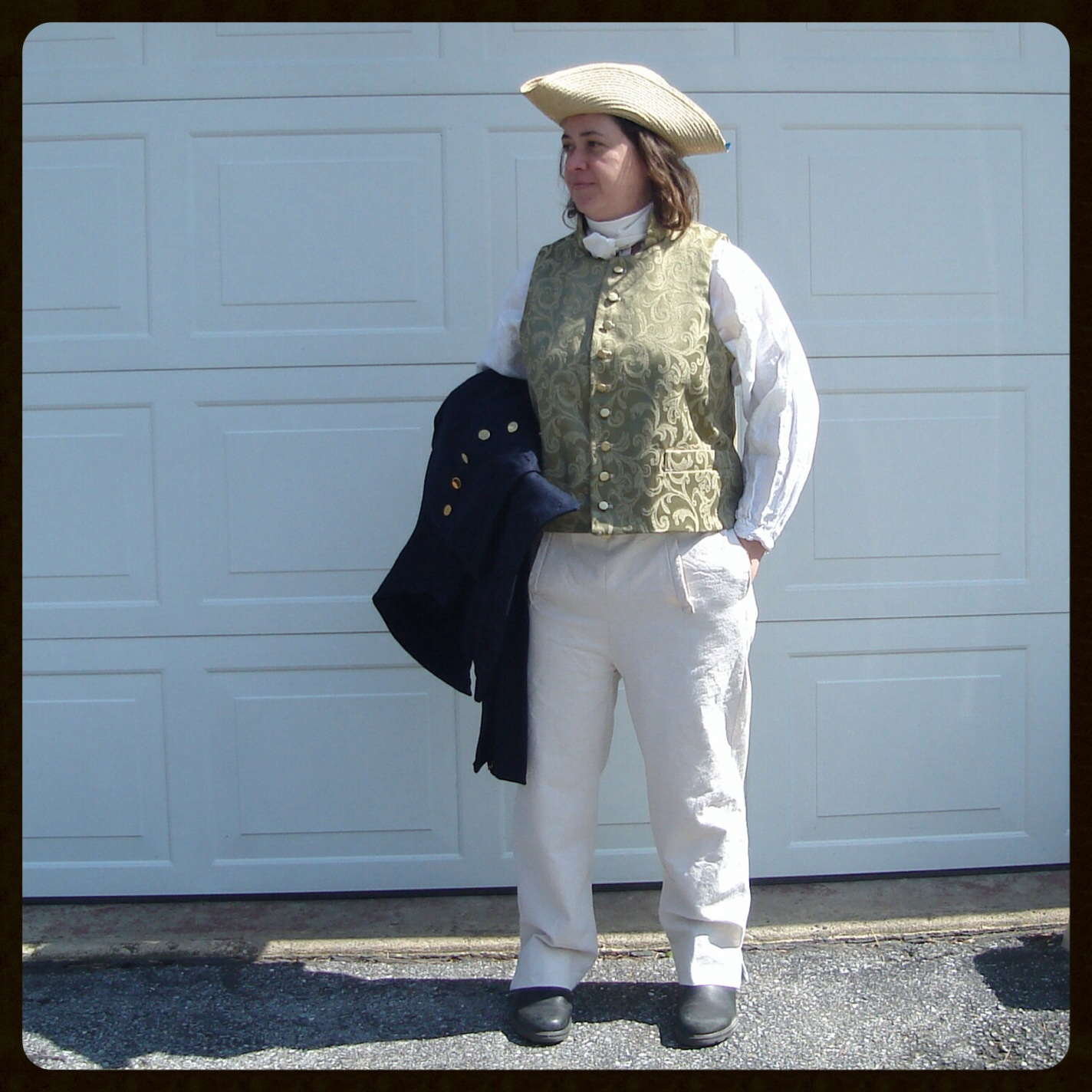 Susan, War of 1812 Era Waistcoat, Linen Shirt and Canvas Trousers
