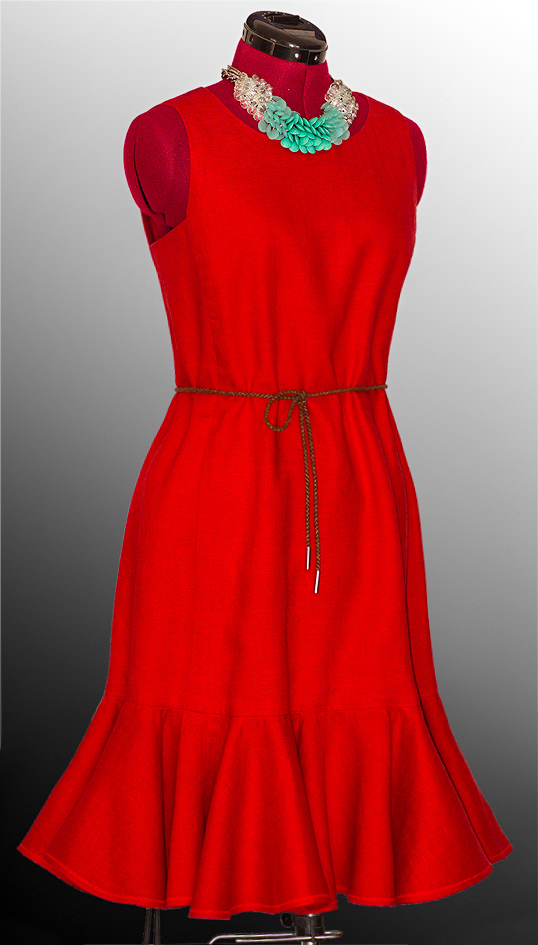 Olga, Red dress made with handkerchief linen. It is fully   lined, has a back zipper and a double-layered...