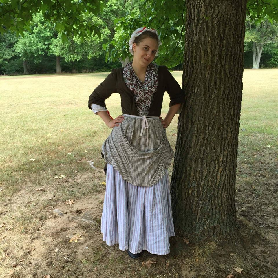 Aly, Revolutionary War Woman on the Ration - Striped linen petticoats, Checked linen apron, and white lin...