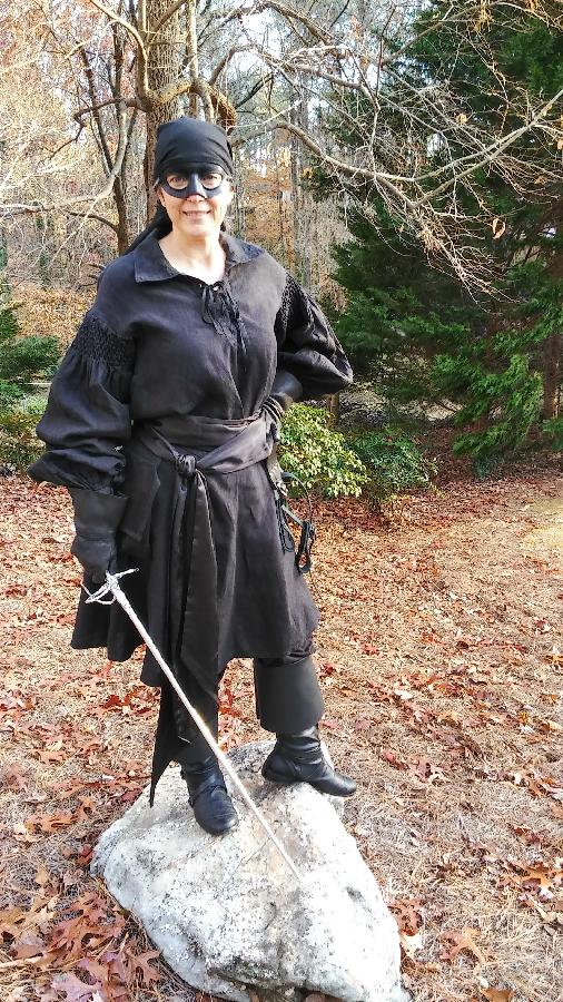 Dawn, Dread Pirate Roberts costume (from the movie The Princess Bride), female version--hey, its a fran...