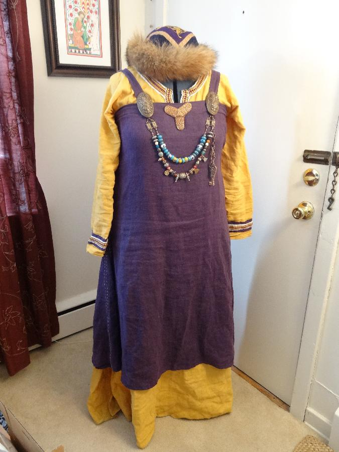 Kendra, I am a member of the SCA and this is my Viking apron dress and underdress. It has hand finished seam...
