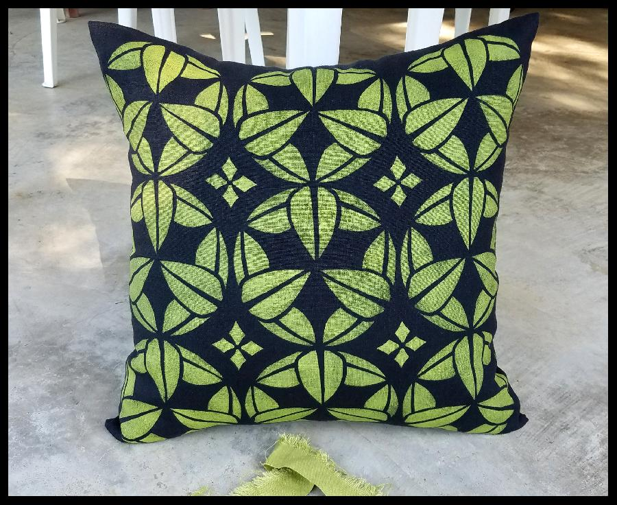 Patrice, 18 x 18 pillow cover of IL019 BLACK, stenciled with fabric inks, mixed to match Pantones Fall 201...