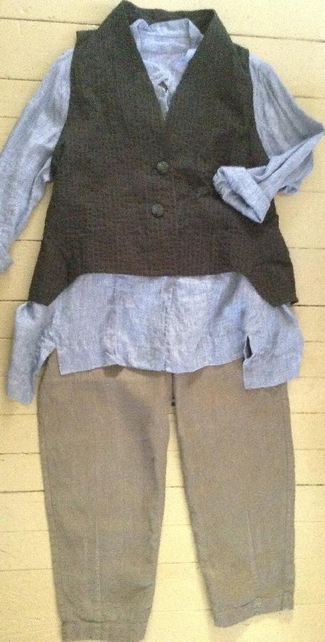 Melissa, Blue chambray linen shirt, linen blend vest, and gray linen pants. Various patterns used inspired by...