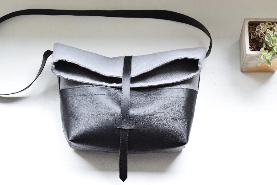 Randee, Linen + leather roll top handbag made with Asphalt - heavy weight.