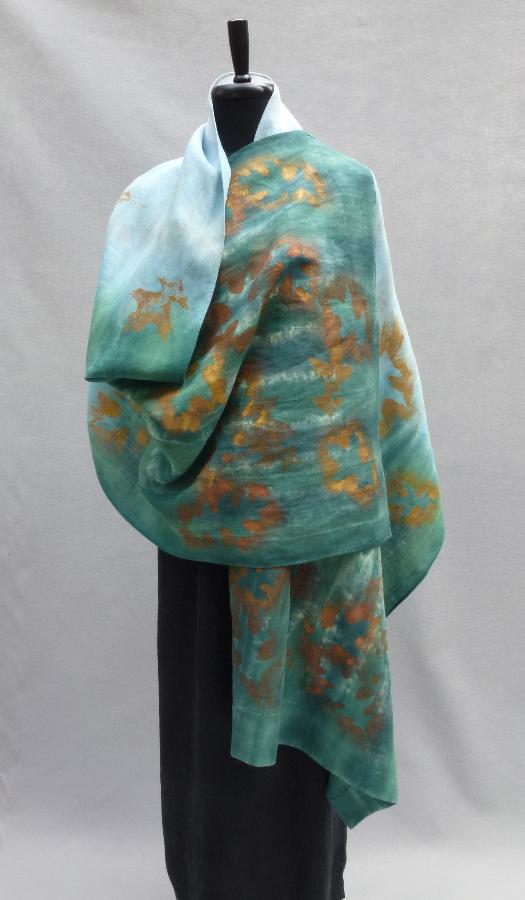 Lois, Handkerchief linen (IL020 bleached, softened) shawl, hand dyed with fiber-reactive dyes. Embellished...