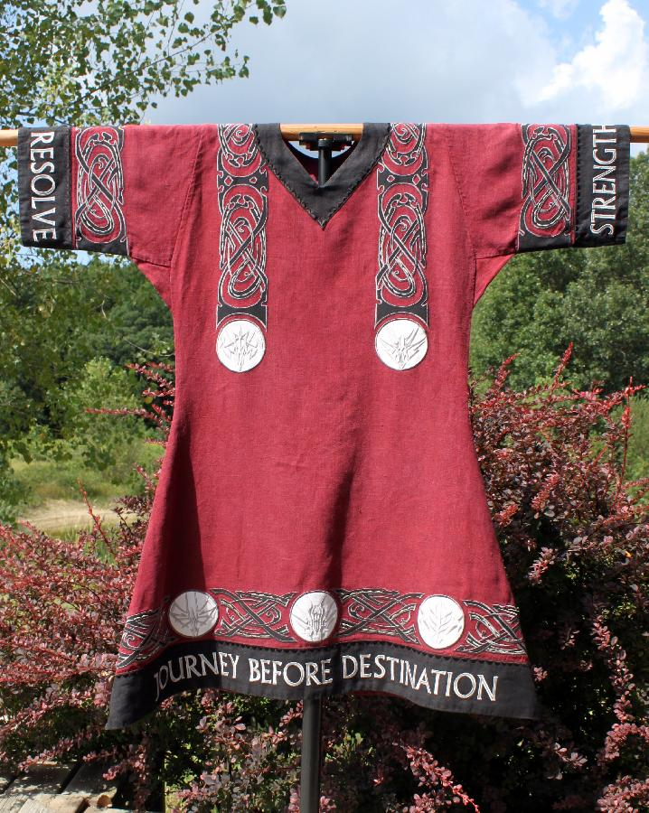 Ellie, Swordfighting tunic made with 4C22 Linen, trimmed with IL019 Linen, and extensively decorated with a...