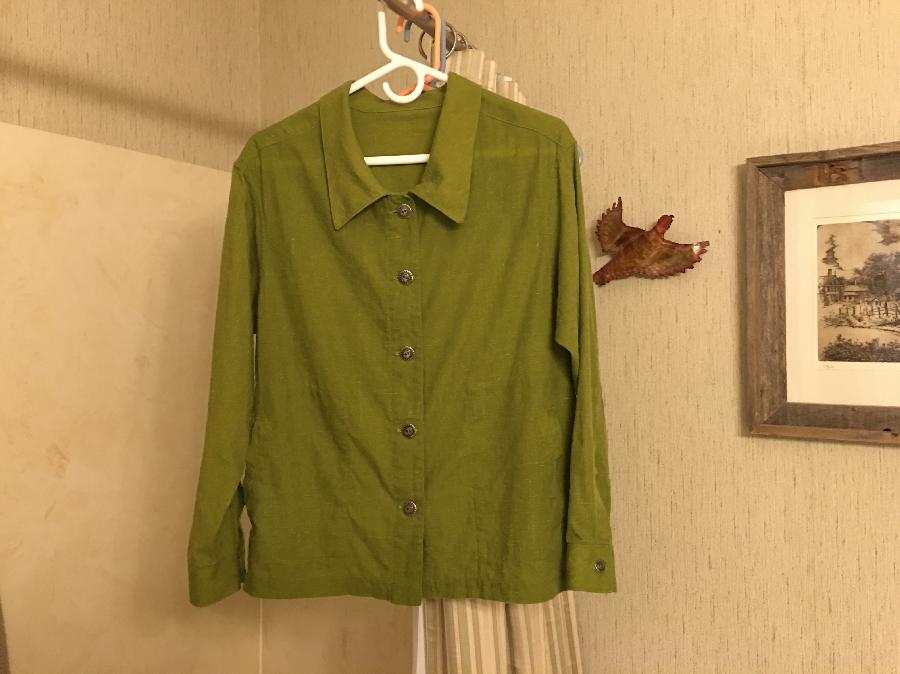Melanie, Newest version of Linen shirt in Oasis... Flat felt seams and Welt pockets...my own pattern...modifi...