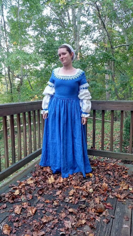 Matthew , This is a recreation of a 17th century gown. The blue is the aquamarine linen heavy weight and the s...