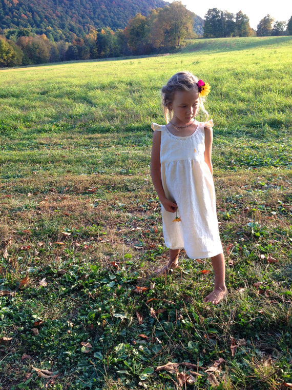 Zoe, Simple Linen Flower Girl Dress with hand stitched neckline.