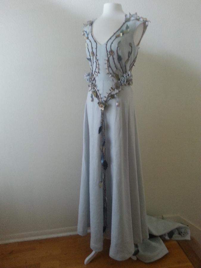 Romy, recreation of Margaery Tyrells wedding gown from HBOs Game of Thrones- made with dove Grey Linen....