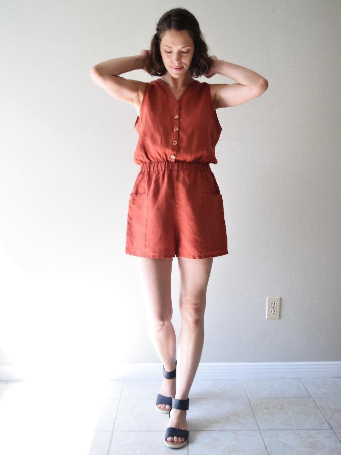 Randee, Button-up romper with deep front pockets and elastic waist made with Sedona - middle weight.
