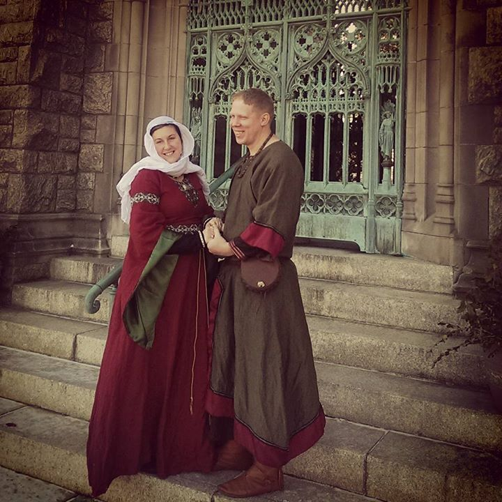 Angela, My lord and I, portraying a couple of the late 11th Century, at a Twelfth Night event held at a gorg...