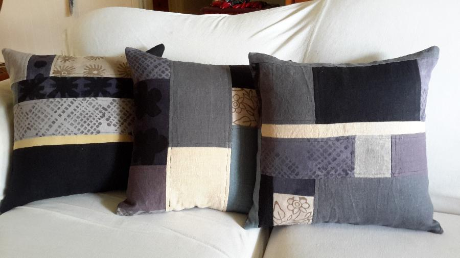 Lynda, These pillows were made with my precious linen scraps, both commercially dyed and hand dyed with nat...