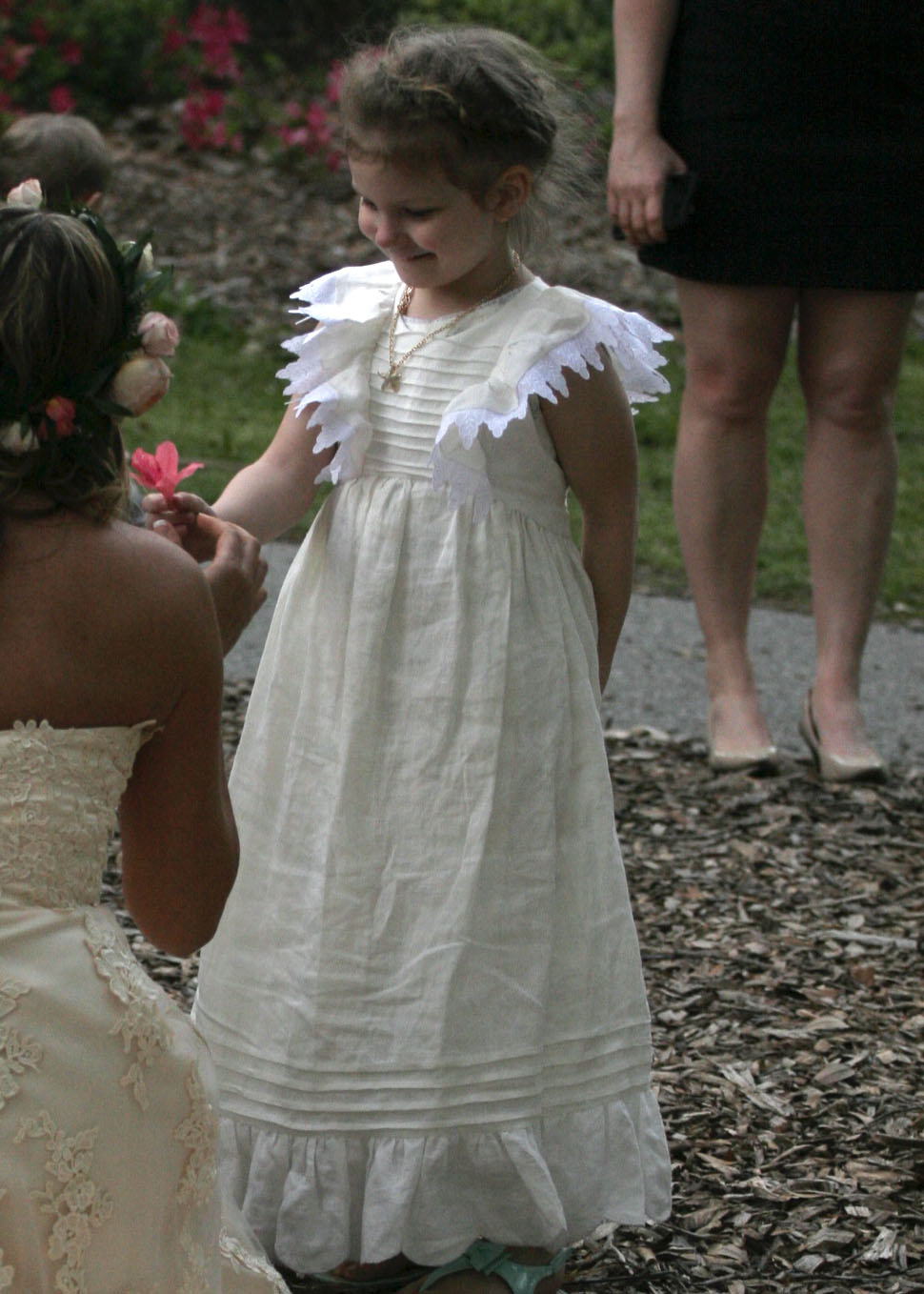 Jordan, Hand sewn and embroidered pintucked  flower girl dress from handkerchief linen (IL020) in bleached w...